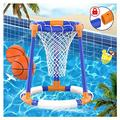 Pool Toys for 6+ Years Old, Pool Basketball Hoop Set for Kids, Floating Water Basketball Game for Swimming Pool, Inflatable Basketball Pool Game for Kids Adults, 2 Balls with a Net and Pump
