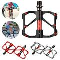 1 PAIR MTB Road Bike Bicycle Pedals 9/16IN Bearings Pedal Universal Flat Platform Sealed with 3 Ball Bearings Aluminum Alloy Strong crawling Smooth