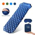 SYOURSELF Inflatable Sleeping Pad,Self-Inflating Camping Mat- Ultralight Compact Waterproof Foldable TPU Air Mattress Pads for Backpacking,Travel,Hiking,Tent,Beach,Outdoor + Eye Mask(Navy Blue)