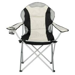Portable Outdoor Camping Chair Folding Fishing Chair-Black Gray