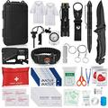 Napasa Emergency Survival Kit 56 in 1 Outdoor Survival Gear Tool and First Aid Kit, Survival Bracelet, Emergency Blanket, Raincoat, Compass, Multi-Purpose EDC Outdoor Gear for Camping Hiking Clim