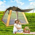 Family Camping Tent, 4-6 Person Large Waterproof Outdoor Popup Tent with Porch Double Layer, Easy Setup 3 Doors Tent Lightweight for Backpacking Hiking Picnic Travel