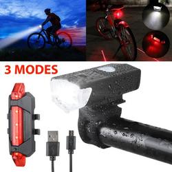 Bicycle Lights, Waterproof Bike Head & Tail Light Set, USB Rechargeable LED Bike Light, Super Bright Cycling Headlight with 3 Modes and Adjustable Bracket, 360º Visibility Bicycle Safety Accessories