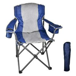 Folding Camping Chair with Cooler, Ultralight Outdoor Portable Chair with Cup Holder and Carry Bag, Padded Armrest Camping Chair, Collapsible Lawn Chair for BBQ, Beach, Hiking, Picnic, TE088