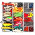 Super Big 500 Pcs Fishing Lures Kit Fishing Baits Optimal Effect,Spinnerbaits,Plastic Worms,Fishing Gear Lures,Fishing Lure Tackle for Bass Trout Bass Salmon,Freshwater Topwater Lure 10 Year Refu