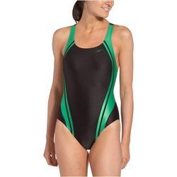 speedo women's race quantum splice super pro swimsuit, black and green, 26