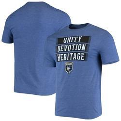 San Jose Earthquakes Fanatics Branded Three Levels Tri-Blend T-Shirt - Heathered Blue