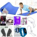 5mm Yoga Mat Activity Tracker Earphones with Smartphone App Complete Fitness Bundle for Muscle Training, Physical Therapy, Shape Body