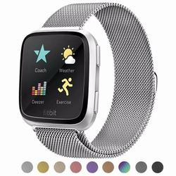 Compatible for Fitbit Versa 2/Fitbit Versa Lite/Fitbit Versa Strap Sport Adjustable , Stainless Steel Milanese Loop Metal Replacement Bracelet Strap with Unique Magnet Lock