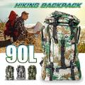 90L Waterproof Breathable Tactical Backpack Camouflage Nylon Bag Hiking Military Rucksacks For Travelling / Camping / Hunting Outdoor Activity Anti-tear