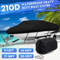 Black Heavy Duty Waterproof Mooring Boat Cover,Fits11-13ft/14-16ft/17-19ft/20-22ft Trailerable Boat Covers V-Hull Fishing Ski Boat Runabout Inboard Outboard Boat Covers