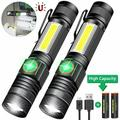 2-Pack Magnetic LED Torch Super Bright COB Flashlight USB Rechargeable Torches Camping