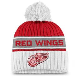 Detroit Red Wings Fanatics Branded Women's Authentic Pro Locker Room Cuffed Knit Hat with Pom - Red/White - OSFA