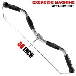 Fitness Maniac Home Gym Cable Attachment 30 inch Curl Bar Handle Machine Exercise Chrome PressDown Strength Training Home Gym Attachments