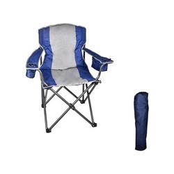 Camping Chair -Capacity Heavy-Duty Portable Oversized Chair, with Cooler Bag Folding Camping Portable Chair Steel Frame Collapsible Support (Blue)