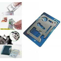 11 in 1 Multi Function Portable Outdoor Saber Card 420 Stainless Steel Knife Screw Wrench Opener Outdoor Camping Travel Kits Multipurpose Silver Beer Bottle Opener/Portable Wallet Pocket Size