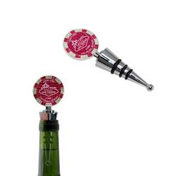 $1000 Las Vegas Poker Chip Wine Stopper - Welcome to Las Vegas Sign Poker Chip Wine Stopper with Rubber Seal (Silver and Pink)