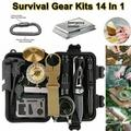 Survival Kit,14in1 Professional Survival Gear Tool Outdoor Emergency SOS Tactical First Aid Equipment Supplies Kits - Wire Saw, Emergency Blanket,Flashlight,Tactical Pen,Water Bottle Clip Ect