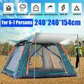 7.9x7.9x5 Ft Camping Tent 6-7 Person Automatic Popup Tent With Carry Bag Silver Coating, Sun Protection, Anti-UV, Waterproof Fabric, for Travel Outdoor Hiking Beach Fishing Picnic