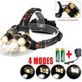 wowspeed 80000LM 5-LED Headlamp, LED Rechargeable 18650 Headlamp Head Light Torch Charger, Camping Head Lamps