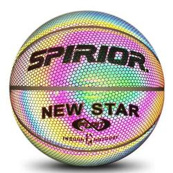 Holographic Glowing Reflective Basketball Lighted Flash Glow Basketball Perfect Night Game Toy Gift for Kids Boys Indoor and Outdoor Use