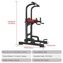 PUYANA Power Tower Workout Dip Station for Home Gym Strength Training Fitness Equipment,Dip Station Chin Up Bar Power Tower Pulls Push Boxing Ball Home Gym Fitness Core