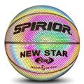 Horypt Holographic Glowing Reflective Basketball Lighted Flash Glow Basketball Perfect Night Game Toy Gift for Kids Boys Indoor and Outdoor Use