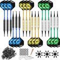 CyeeLife 18 Packs Soft tip Darts Set 18g,100 Tips+Tool+18 Alu shafts+18 Flights+24 Protectors+25 Rubber Rings+Ring Tool,Professional Plastic tip Darts for Electronic Dart Board