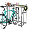BACKWORLD 3 Bike Stand Rack with Storage,Bicycle Parking Racks Round Tube Version 4 Hooks 1 Detachable Long Frame Black