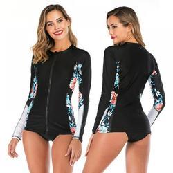 Women Rash Guard Patchwork Long Sleeve Full Length Zipper Sunshade Two Piece Beach Surfing Diving Bathing Suit Swimsuit Swimwear
