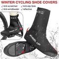1 PAIR Fleece Bike Bicycle Shoe Covers Cycling Overshoes Waterproof Nylon Elastic Zip Up Windproof Winter Thermal Over Shoe Non Slip Sole