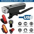 USB Rechargeable Bike Light Set LED Bike Headlamp Super Bright Headlight IPX5 Waterproof Bicycle Safety Flashlight Rotation 5-Switch Modes+Tail Light- Riding Cycling Camping for Night Riding