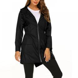 Women's Lightweight Raincoat Waterproof Jacket Hooded Outdoor Hiking Jacket Long Rain Jackets Active Rainwear ,Black ,S