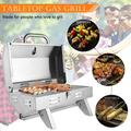 ZOKOP Grills BBQ Oven Stainless Steel Square Gas Stove Single Row Small Oven Outdoor, Silver