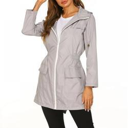 Women's Lightweight Raincoat Waterproof Jacket Hooded Outdoor Hiking Jacket Long Rain Jackets Active Rainwear ,Gray ,S
