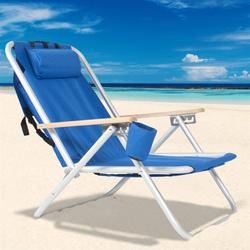 Portable Beach Chair,Patio Folding Lightweight Camping Chair, Outdoor Garden Park Pool Side Lounge Chair, with Cup Holder, Adjustable Headrest,Blue