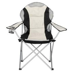 Portable Outdoor Camping Chairs Folding Fishing Chair with Cup Holder for Indoor or Outdoor ,Supports 330lbs - Black Gray