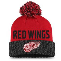 Detroit Red Wings Fanatics Branded Women's Iconic Cuffed Knit Hat with Pom - Red/Black - OSFA