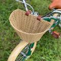 Handlebar Bike Basket,Front Handlebar Children Kid Storage Basket, Waterproof with Leather Straps,Junior Retro Rattan Wicker Bicycle Basket Shopping Storage Bicycle,Plastic Rattan+PE