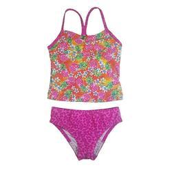 Speedo Girl's Sporty Splice Tankini 2 Piece Swimsuit (14, Pink/Pineapple)