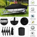 Waterproof Trailerable Boat Cover Outdoor Protector Cover, Dustproof V-hull Tri-hull Fishing Ski Bass Boat Cover, 17-19ft/20-22ft