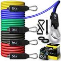 CKE Resistance Bands Set for Men Exercise Bands with Handles Set Training Tubes with Door Anchor & Ankle Straps for Workout Equipment for Home Workouts Physical Therapy Portable Home Gym Accessories