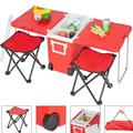 Multi-Function Rolling Cooler Warm, Picnic Camping Outdoor w/Table & 2 Foldable Camping Chairs, Multicolor