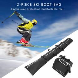 Wuffmeow Ski Bag and Ski Boot Bag Combo - Ski Bags for Air Travel - Unpadded Snow Ski Bags Fit Skis Up to 200cm for Men, Women, Adults, and Children