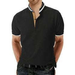 MAWCLOS Mens Casual Polo Shirt Short Sleeve Solid Golf Polo Shirts for Men Classic Front Placket Turn Down Collar Shirt