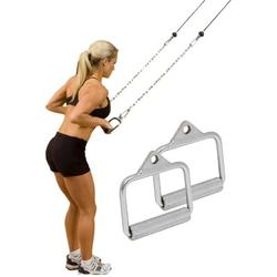 D Handle (Pair) Exercise Handle Attachment LAT Pull Down Tricep Press Down LAT Cable Attachment Weightlifting Exercise Cable Attachment Handle Machine Chrome Press Down Strength Training Home Gym