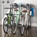 3 Bike Stand Rack with Storage for Garage Use, Freestanding Bicycle Instant Floor Parking Stand for Parking Road, Mountain, Hybrid or Kids Bikes, Sports Storage Station Garage Organizer - Black