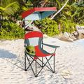 Portable Folding Camping Canopy Chair with Cup Holder Cooler -Red