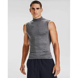 Under Armour Men's HeatGear Armour Compression Sleeveless Mock , Carbon Heather (090)/Black , Medium, 100% Polyester By Visit the Under Armour Store