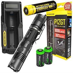 NITECORE P12GT 1000 Lumen CREE LED 350 yards long throw tactical flashlight with Nitecore UM10 USB charger, NL183 rechargeable 18650 Battery and 2 X EdisonBright CR123A Lithium Batteries Bundle